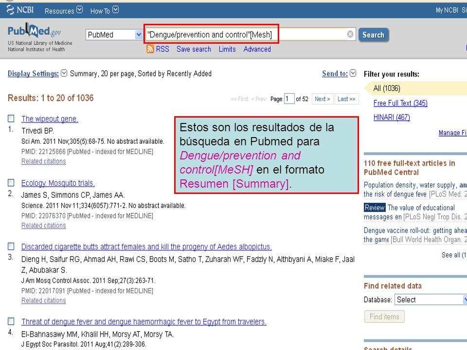 Estos son los resultados de la búsqueda en Pubmed para Dengue/prevention and control[MeSH].en el formato Resumen [Summary].